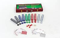 Набор для покера в деревянном кейсе (500 фишек с номиналом, 2 кол.карт,5куб), фото 1