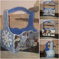 Новогодний декупажный ящик, ручная работа, дерево и фанера, 19х18х12 см., 290/260 (цена за 1 шт. + 30 гр.)