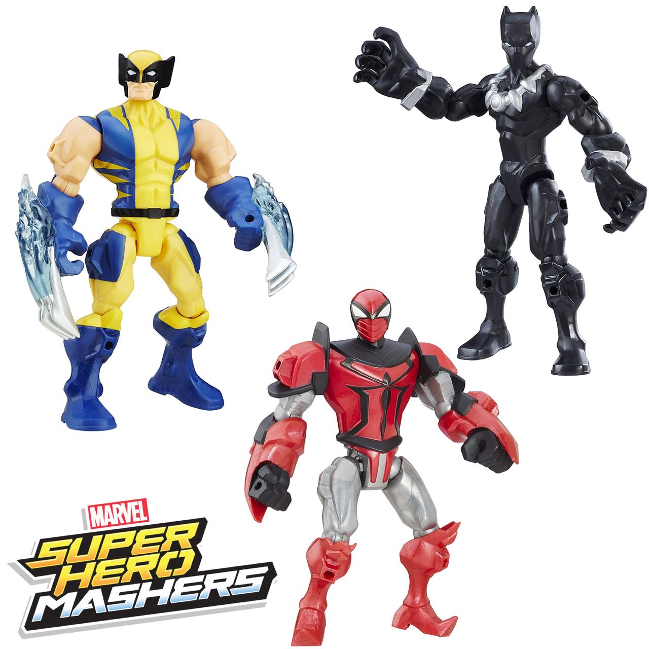 Набор разборных фигурок супергероев Росомаха, Черная Пантера, Рыцарь-паук - Mashers, Hasbro