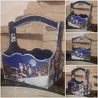 Стильный деревянный ящик к Новому году, декупаж, 19х18х12 см., 290/260 (цена за 1 шт. + 30 гр.)