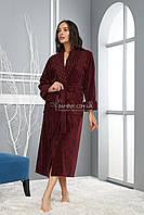 Длинный махровый халат с шалевым воротом Nusa бордового цвета NS-8520