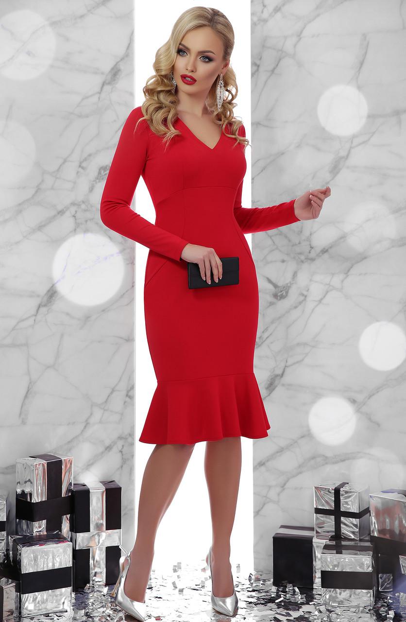 5490a830ad2 Закрытое красное платье с воланом внизу - Le Beauty в Киеве