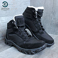 Ботинки утеплённые замшевые ARS-7 черные зимняя тактическая обувь