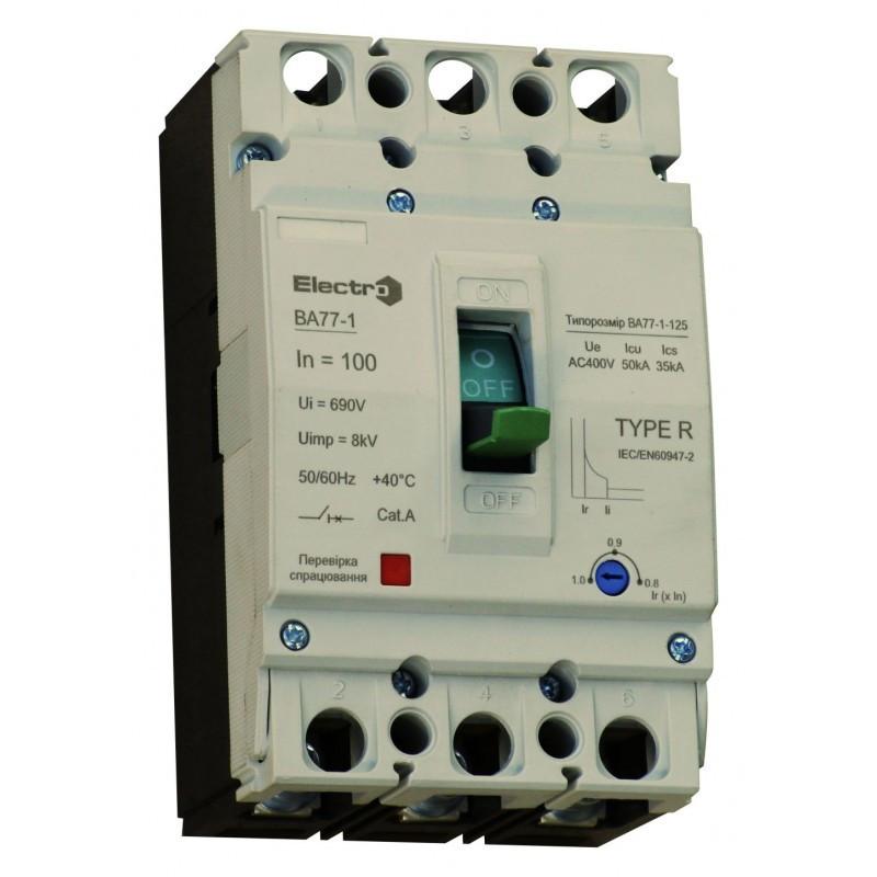 Выключатель автоматический промышленный с регулятором ВА77-1-125  3 П   100А   10In   Icu 25кА   380В
