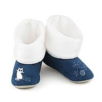 Домашние тапочки с манжетом с вышивкой Котик с клубочком сине белые размер 30-31_склад