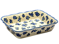 Керамическая форма для выпечки и запекания прямоугольная с волнистым краем 25 х 20 Чернички, фото 1