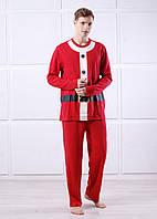 Пижама мужская Санта трикотажная красная