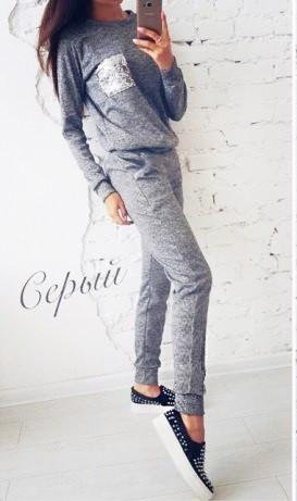 Женский костюм теплый на осень с карманчиком из паетки ангора софт осенний на осеньL-ка серый меланж