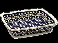Керамическая форма для выпечки и запекания прямоугольная с волнистым краем 25 х 20 Вишенка, фото 1