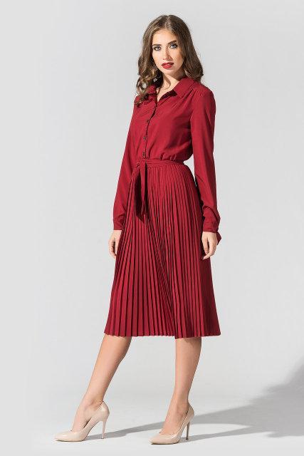 Женское платье миди с плиссированной юбкой и длинным рукавом Бордовое