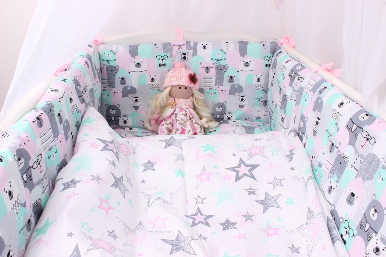 Тонкие бортики защита в кроватку мишки серо-мятно-розовый