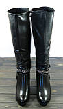Зимние женские сапоги на каблуке Fabio Monelli кожаные, фото 2