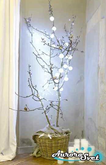 LED гирлянда от AuroraSvet 18 белых бархатных шариков.  Светодиодная гирлянда. Гирлянда LED.