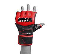 Рукавиці для MMA PowerPlay 3055 Червоно-чорні PU XL