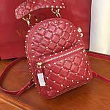 Рюкзак Валентино Garavani Rockstud Spike, кожаный, цвет гранатовый, фото 4