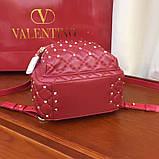 Рюкзак Валентино Garavani Rockstud Spike, кожаный, цвет гранатовый, фото 3