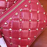 Рюкзак Валентино Garavani Rockstud Spike, кожаный, цвет гранатовый, фото 5