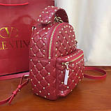 Рюкзак Валентино Garavani Rockstud Spike, кожаный, цвет гранатовый, фото 8