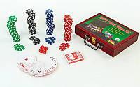 Набор для покера в деревянном кейсе (200 фишек с номиналом, 2 кол.карт,5куб), фото 1