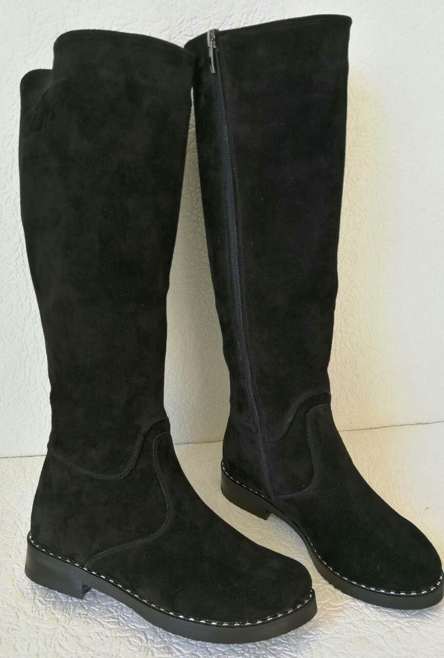 0b7e097c2bff6a Жіночі осінні чорні замшеві чоботи Limoda, до коліна, зі змійкою,  натуральна замша -