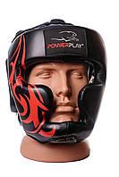 Шолом боксерський тренувальний PowerPlay 3048 Чорнo-червоний PU S, фото 1