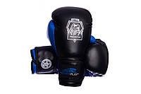 Боксерські рукавиці PowerPlay 3002 Чорно-сині PU 12 oz, фото 1