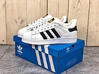 """Зимние кроссовки на меху Adidas Superstar """"White/Black"""" ( Белые / Черные )"""