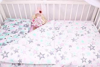 Постельное белье в детскую кроватку Розово-мятные мишки