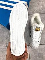 """Зимние кроссовки на меху Adidas Superstar """"White/Black"""" ( Белые / Черные ), фото 3"""