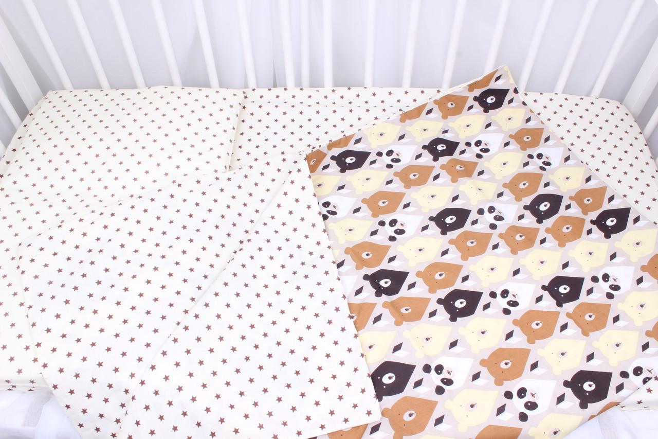 Постельное белье в детскую кроватку  мишки коричнево-бежевые