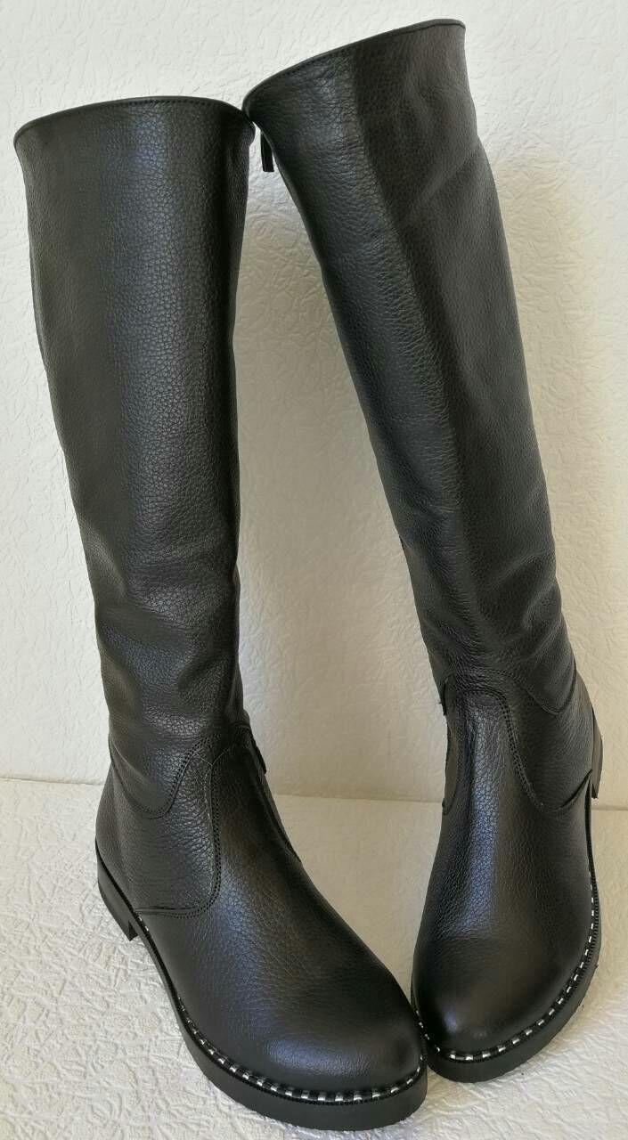 5bb456609cdb0a Жіночі осінні чорні шкіряні чоботи Limoda, до коліна, зі змійкою,  натуральна шкіра замша