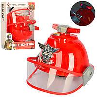 Набор пожарника F003A (36шт) каска, диам.16-19см, звук, свет, на бат(таб), в кор-ке, 30,5-23,5-16см