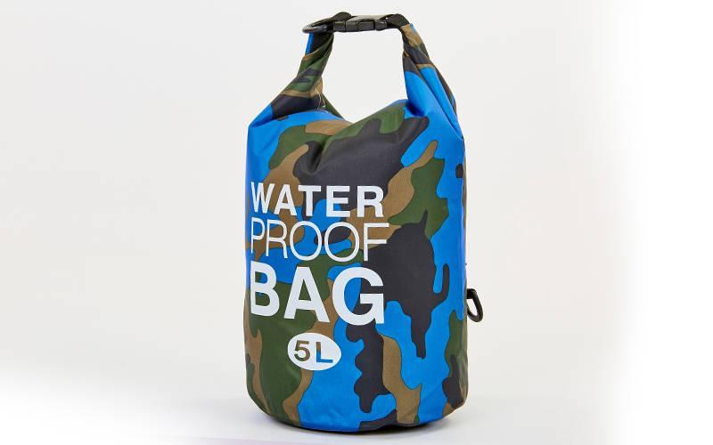 Водонепроницаемый гермомешок с плечевым ремнем Waterproof Bag 5л blue camouflage TY-6878-5