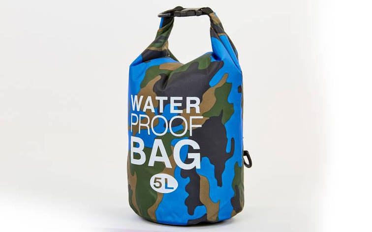 Водонепроницаемый гермомешок с плечевым ремнем Waterproof Bag 5л blue camouflage TY-6878-5 , фото 2