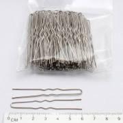 Шпилька для волос серебристая 6 см, в упаковке 50 шт.
