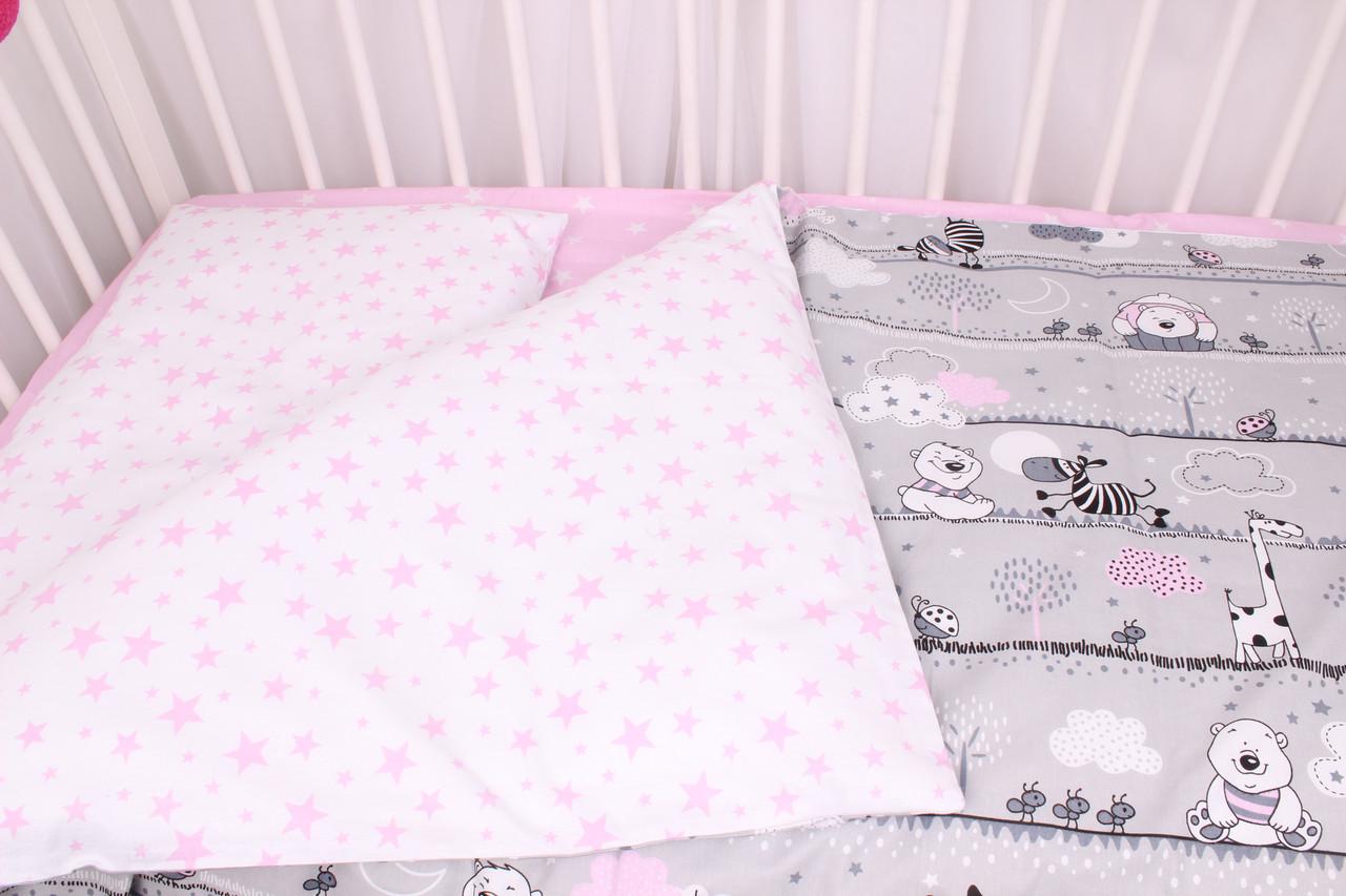 Постельное белье в детскую кроватку мишки и жирафы с розовыми облаками