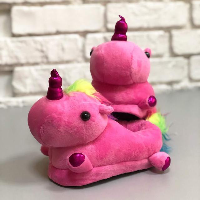 Детские плюшевые тапочки Единороги розовые