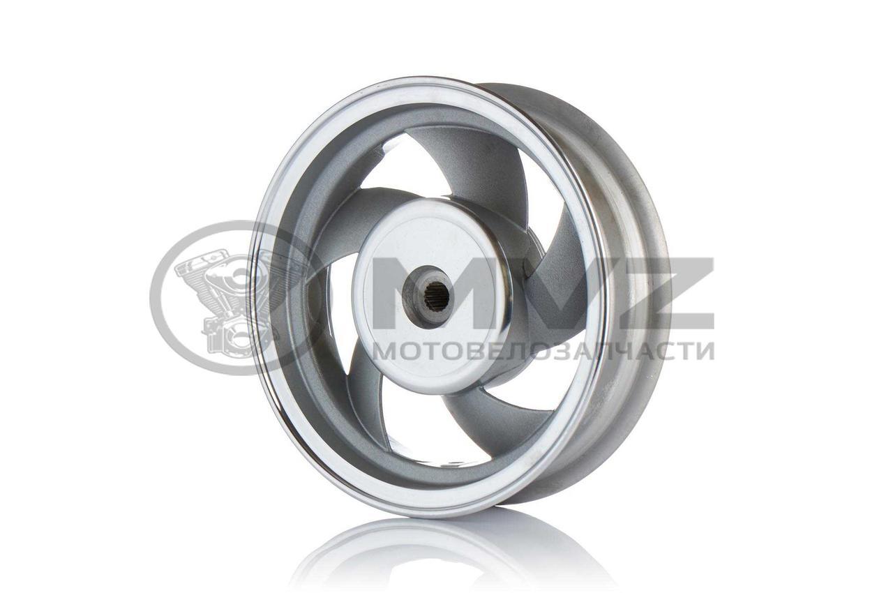 """Диск колеса задний  10""""-2.50  литой, 19 шлицов, 5 спиц, барабан 130mm  (пропеллер)"""