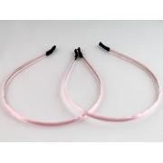 Обруч для волос металлический, ширина 7 мм с нежно-розовой лентой