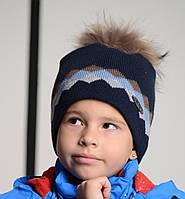 Зимняя Стильная Синяя Шапка Для Мальчиков С Оригинальным Орнаментом И  Меховым Бубоном Nikola Польша. 52 1c03c01774292