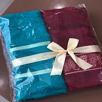 Рушники махрові подарунковий набір в різних кольорах 100% бавовна розмір 50х90см, Узбекистан