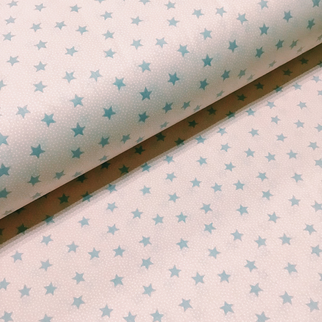 Ткань поплин серые звездочки на пудровом (ТУРЦИЯ шир. 2,4 м) №34-136