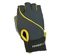 Рукавички для фітнесу PowerPlay 1725 B Чорний-Жовтий M