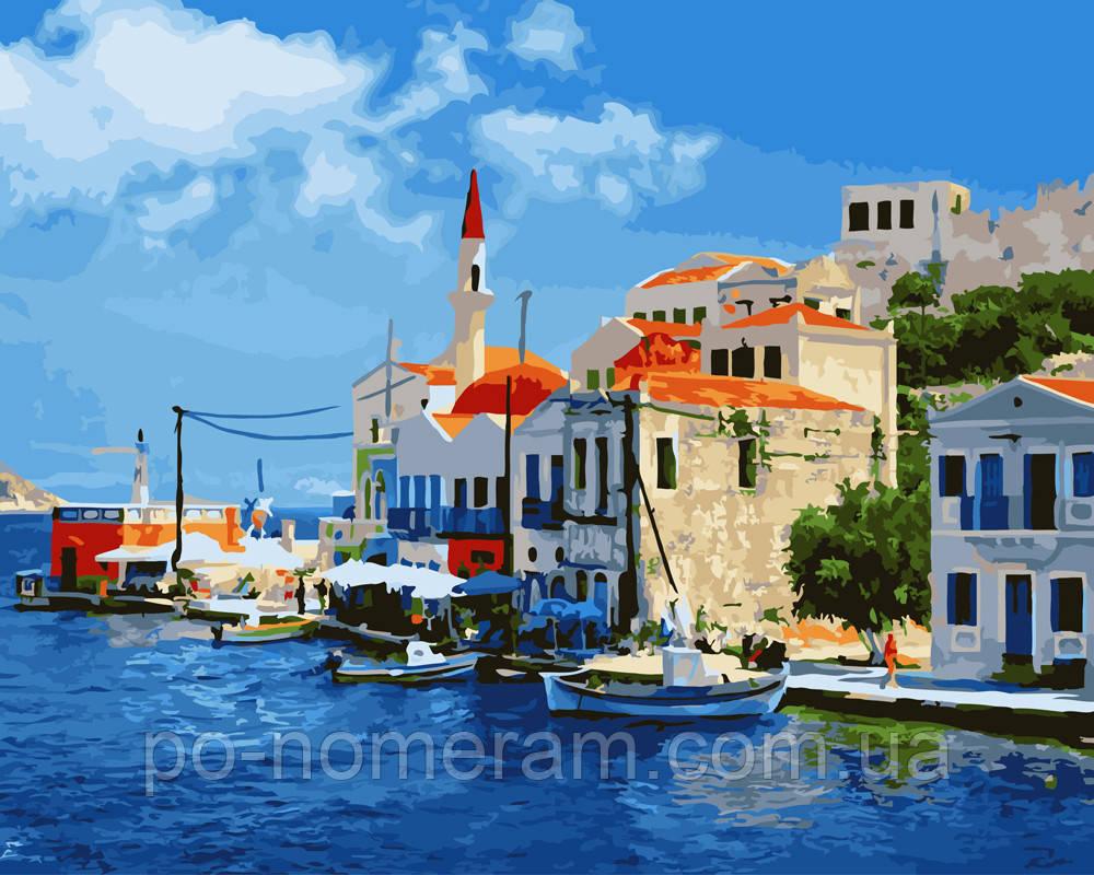 Раскраска для взрослых Побережье Греции (BK-GX22480) 40 х ...