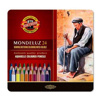 Карандаши цветные акварельные Mondeluz, мет.кор., 24 шт.