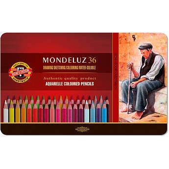 Карандаши цветные акварельные Mondeluz, мет.кор., 36 шт. Koh-i-Noor