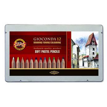 Карандаши пастельные GIOCONDA 8827, набор 12 цв., мет. уп