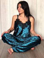 Женская велюровая пижама штаны и майка, фото 1