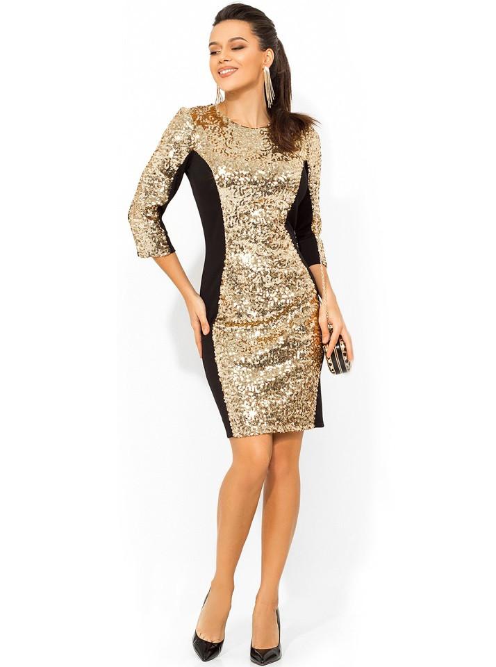 Золотое платье-мини из пайеток Д-977