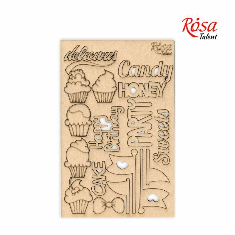 "Чипборд для скрапбукинга ""Cake delicious"" 1, картон, 13х20см, ROSA TALENT"